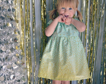 Easter Dress gold mint green baby girl dress toddler first birthday dress flower girl dress Spring wedding dress photo shoot confetti