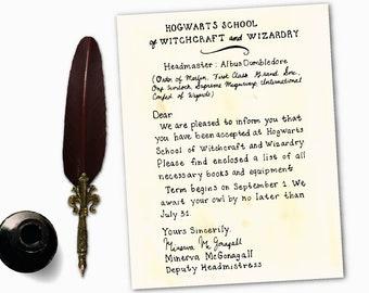 Hogwarts Acceptance Letter, Printable, Harry Potter Gift, Harry Potter Printable, Personalized, Harry Potter Print, Digital Download