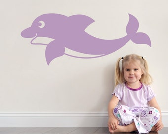 Swimming Dolphin Wall Decal Ocean Baby Nursery Nautical Underwater Under the Sea Wall Sticker Kids Room Decor