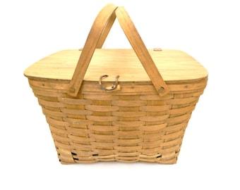 Vintage 1980s Large Longaberger Picnic Basket...Handled Lidded Basket...Signed...Outdoor Travel Basket