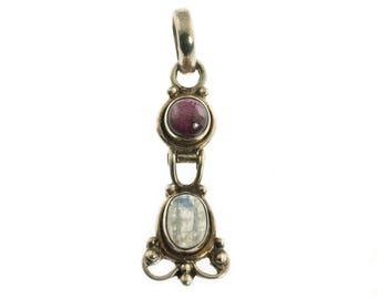 Sterling Moonstone and Garnet Pendant