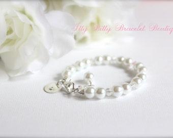 Sterling Silver Initial Personalized Charm, Flower Girl Gift, Girls Pearl Bracelet Flower Girl, Jr Bridesmaid Gift