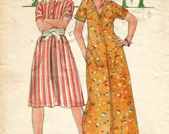 Vintage 70s Butterick 4257 Misses A-Line Maxi and Knee Length Dress with Kimono Sleeves Sewing Pattern Size 8 Bust 31.5