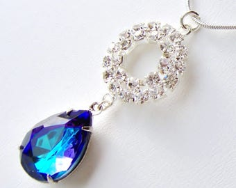 Bermuda blue pear rhinestone necklace / peacock blue / gift for her / teardrop crystal necklace / something blue