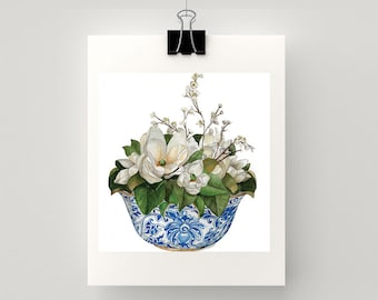 REPRODUCTION PRINT Blue and white bowl with magnolias watercolour print