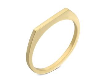 Thin gold wedding band, Unique Gold Wedding Ring, 14k gold women wedding ring, Geometric wedding ring, Gold wedding band modern wedding ring
