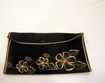 Black velvet clutch/glove case with gold flowers, c. 1960s
