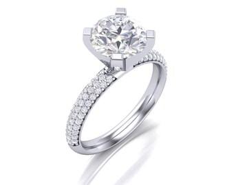 Round Cut Moissanite Diamond Engagement Ring - Forever One Moissanite Diamond Ring - 2.00 Carat Charles & Colvard 8 mm Moissanite Ring
