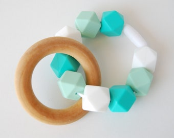 Turquoise, Mint, and White Wood and Silicone Baby Teether/ Teething Ring/ Wood Baby Toy/ Wood Baby Teether/ Silicone Teether/ Baby Toy