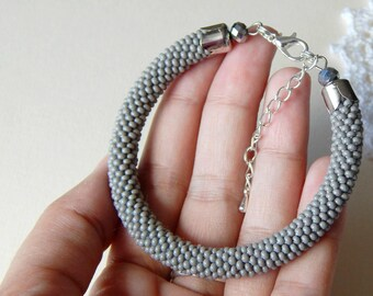 Gray bead Bracelet. Gray Beaded Bracelet. Beaded Jewelry