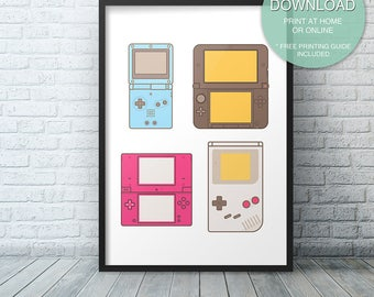 Video Game Printable Art, Video Game Decor, Nintendo Print, Gameboy, Video Game Art, Printable ART PRINT, Instant Download, Game Controllers