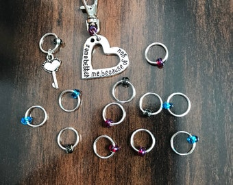 Better Me, Valentine's Day Ring Stitch Markers, ring markers, knitting supplies, snagless, knitting markers, stitchmarkers, knitter gift