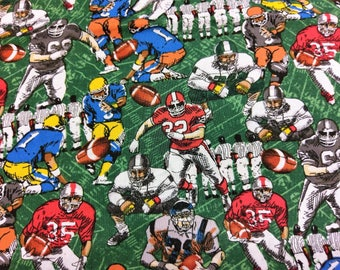 Football Player Cotton Fabric By the Yard |  Football GreenField Fabric | Football Cotton Sewing | Fabric for him | Football Players Team