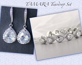 Teardrop Bridal Set, Crystal Jewelry Set, Earrings & Bracelet Set, Crystal Bridesmaids Set, TAMARA S3