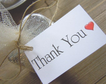 Thank You Wedding Favor Tags with a Heart Wedding Favors