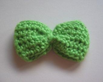 Crochet Hair Bow in Bright Green