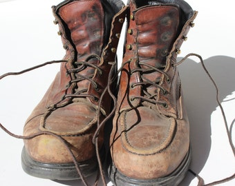 Vintage Red Wing Classic Moc Work Boots Size 10 1/2 D Leather Brown Leather Boot Broken In Boots Irish Setter Cool City Boots