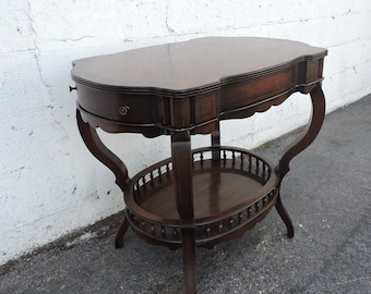 Mahogany Side Table End Table with a Shelf and a Drawer 8891A