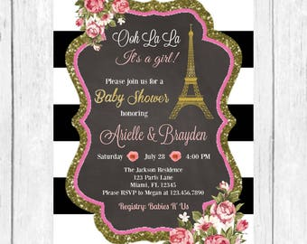 Parisian Baby Shower Invitation, Spring Baby Shower Invitation, Baby Girl Invitation, Paris Invitation, Floral Baby Shower Insert, Printable