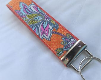 Key Fob Key Chain Wristlet in Fantasia Floral in Orange - designer fabric Keychain