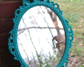Ornate Mirror,Oval Curvy Design,Turquoise or Choose Color , Vintage Metal Mirror   17 x 12 inchess