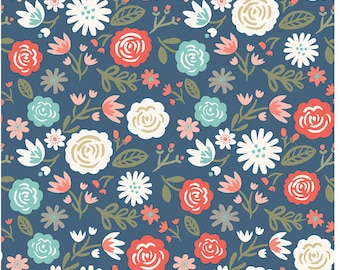 Floral Cotton Fabric - Navy, Coral, Mint Modern Flower Heart and Soul Main Navy - Riley Blake Designs by Deena Rutter - Coral Floral Fabric