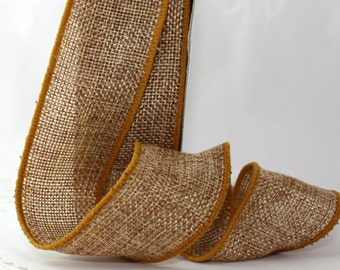 """Wired Antique Gold Burlap Ribbon, 1.5"""" wide by the yard, No Shed Burlap"""