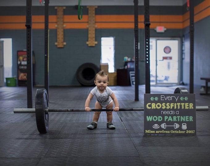 Crossfitter Pregnancy Chalkboard/ Sports Pregnancy Announcement/Crossfitter Chalkboard/ Every Crossfitter Sign/Crossfitter Needs WOD Partner