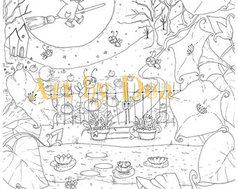 PENELOPES GARDEN Moonlight Flying Spell Pad Digital Download PDF Instant Coloring