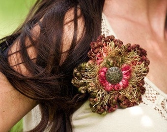 Ruffle Flower Pin Crochet Pattern PDF