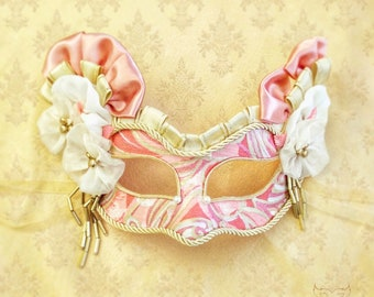 Pink And Champaigne Gold Masquerade Mask -  Venetian Style Handpainted Mask With Gold Beads