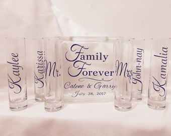 Sand Ceremony Set for Wedding - Family Set - Glass Block with Family Forever - Personalized - shown with purple wtiting
