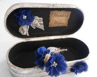 Wedding Wishes Box / Distressed Burlap Wishes Trunk / Navy And Burlap Wedding Wishes Box / Shabby Wedding Box / Wedding Decorations