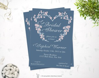 Printable Bridal Shower invitation - Blue with floral heart Invite -  Do it yourself Customizable  Printable Invitation