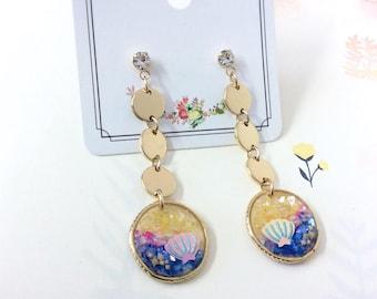 Resin Drop Earrings, Sea Shell Earrings, Beach Earrings