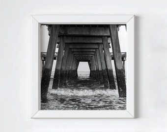 Black and white photo print - Beach pier wall art - Tybee Island - Coastal ocean photo - Fathers Day photo gift -  Large square art 16x16+