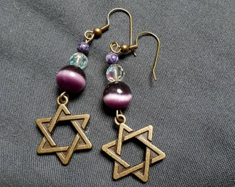 Star of David Dangle Earrings, Magen David, Bat-Mitzvah Earrings, Handmade Jewelry, One of a kind, Gift for her, Under 20