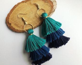 3-Tiered Blue Tassel Earrings with Hoop