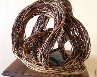 contemporary original willow sculpture // willow woven into complex flowing lines inspired by birds in flight // natural unique art piece