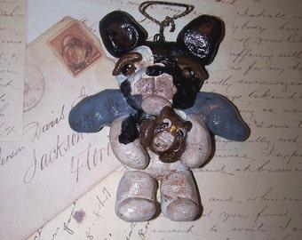Folk Art Vintage French Bulldog Angel Doll w Owl Ornament Ooak