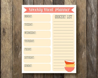 Grocery List Printable - Instant Download Meal Planner - Printable Grocery List - Weekly Meal Planner - Printable Meal Plan - Meal Planner