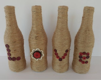 Button Love Twine Covered Bottles / Love Bottles / Valentine's Day / Twine Bottles