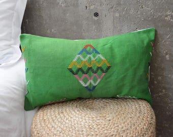 Green Cactus Silk Lumbar Pillow #1 - 14X22
