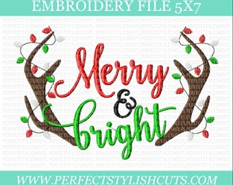 Christmas Embroidery Design -Merry And Bright, 5x7 Embroidery File, Antlers Embroidery, Machine Embroidery Designs, PES Files
