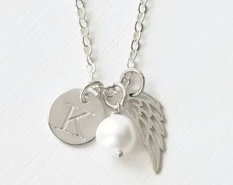 Personalized Stillborn Necklace with Baby's Initial and June Birthstone / Customized Sympathy Gift for Loss of Loved One