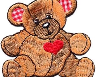 Embroidered Iron-On Applique Bear, 3 x 2+3/4 inch