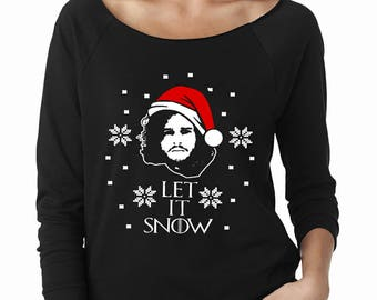 more colors let it snow womens longsleeve raglan ugly christmas sweater