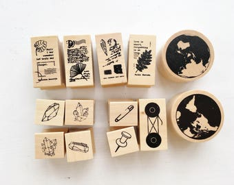 Rubber Stamp Set // Vintage Rubber Stamp Pack // Scrapbook Embellishment DIY