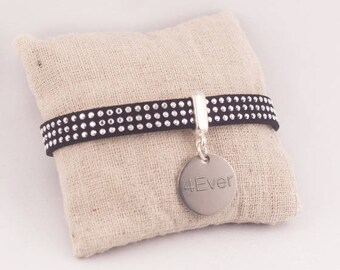 Personalized Bracelet Black Suede & medal engraved - personalized engraved jewelry