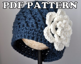PDF PATTERN - Chunky Flowered Cloche